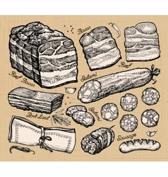 meat market hand-drawn sketches of food vector image vector image