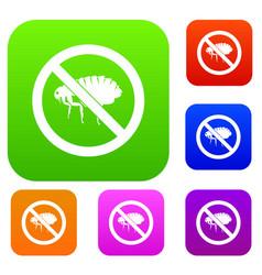 no flea sign set collection vector image vector image