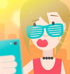 Pretty young girl taking a selfie photo vector