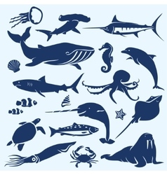sealife sea and ocean animals and fish vector image