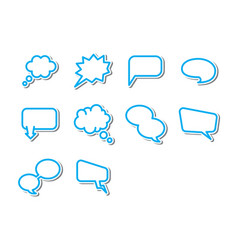 Thin line word bubbles icon set vector