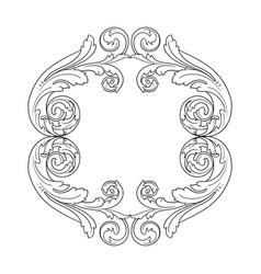 vintage baroque frame engraving scroll ornament vector image vector image