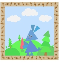 Abstract card with rabbit vector image vector image