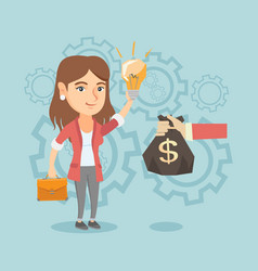 caucasian businesswoman exchanging idea for money vector image vector image