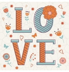 Cute Valentines day card with word love and vector image vector image
