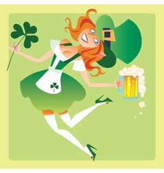 Girl elf on the feast day of St Patrick vector image vector image