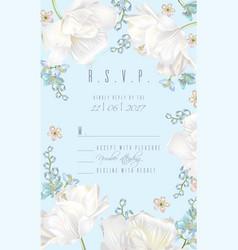 Tulip rsvp card blue vector
