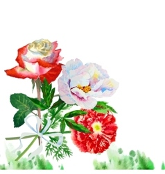 Watercolor background with red poppy-06 vector image
