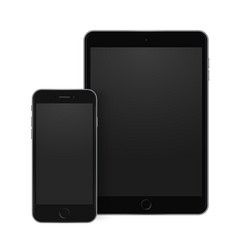 black mobile phone and tablet templates with vector image vector image