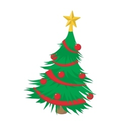 Christmas tree cartoon icon vector image