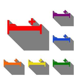 hospital sign set of red orange vector image