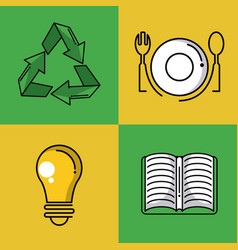 recycle square icons vector image