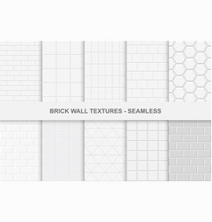 Collection of seamless brick wall textures vector