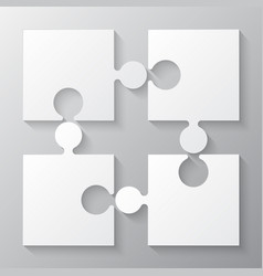 four white piece jigsaw puzzle four section vector image vector image