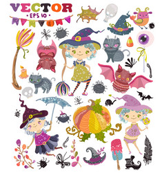 halloween collection of cute witches girls vector image vector image