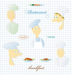 Set of images of the cook and various dishes vector image