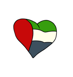 uae isolated heart flag on white background vector image