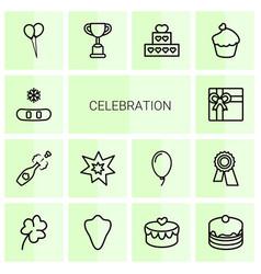 14 celebration icons vector image