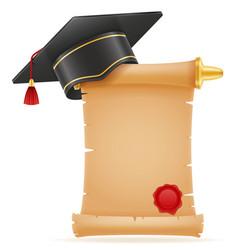 Academic graduation mortarboard square cap vector
