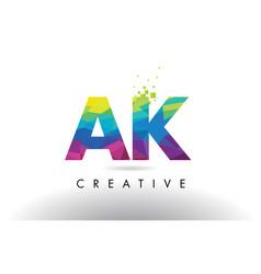 Ak a k colorful letter origami triangles design vector