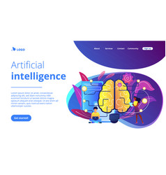 Artificial intelligence concept landing page vector
