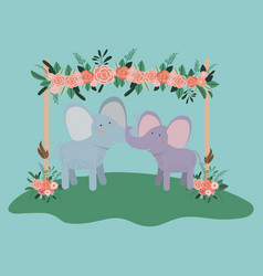 baby shower card with cute elephants couple vector image