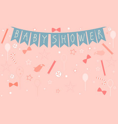 baby shower celebration card design with birds vector image