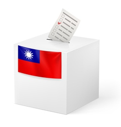 Ballot box with voting paper Taiwan vector