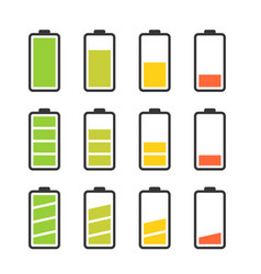 Battery icon set with colorful charge level vector