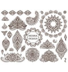 Big set henna floral elements and frames vector