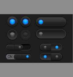 black 3d buttons - sliders and radio buttons vector image