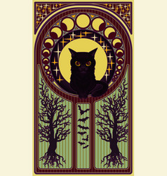 black cat and moon art nouveau style card vector image