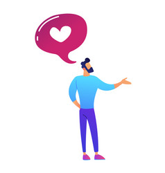 Businessman and speech bubble with heart shape vector