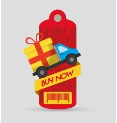 Buy now tag price barcode truck delivery gift vector