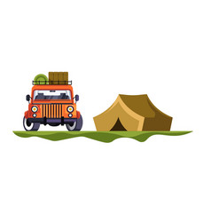 Camping and jeep car with baggage tent trip vector