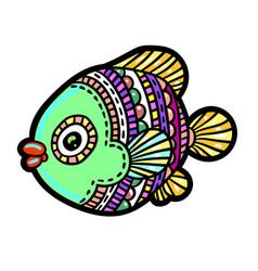 Cartoon comics sea or river fish vector
