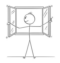 Cartoon man opening window vector