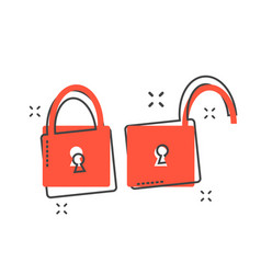 cartoon padlock icon in comic style lock unlock vector image
