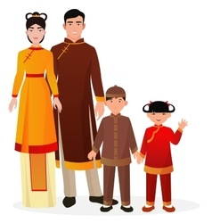 Chinese family man and woman with boy vector