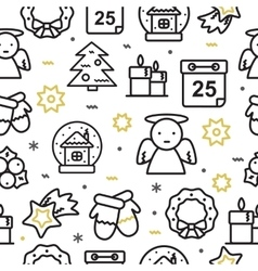 Christmas seamless pattern with line icons vector