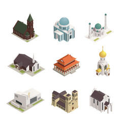 Church cathedral mosque isometric icons vector