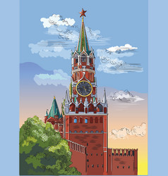 colorful hand drawing moscow-9 vector image