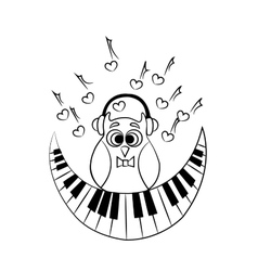 coloring with owl with piano vector image