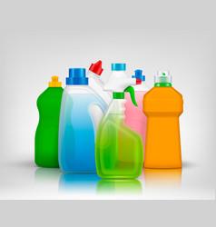 Colourful detergent bottles composition vector