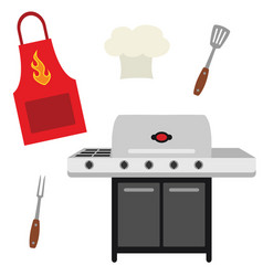 Cookout grill utensils apron chef hat vector