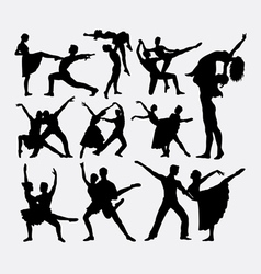 Couple ballet dancer silhouette vector image