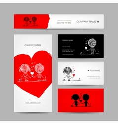 Couple kissing valentine cards for your design vector