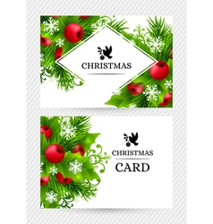 Cristmas holly fir banners 22 vector