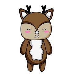 Cute and shy deer wild animal vector