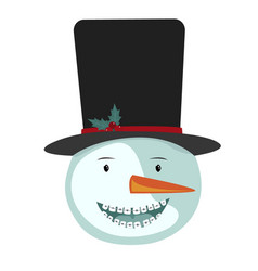 cute smiling snowman icon with dentist braces vector image